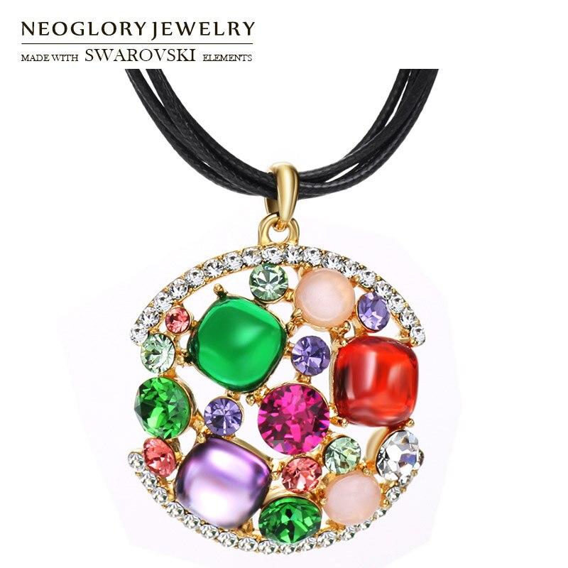Neoglory Austria Rhinestone   Zircon Pendant Necklace Colorful Geometric  Style Long Black Rope Alloy Plated Elegant 0eea6efdfd36