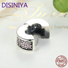 DISINIYA 100% 925 Sterling Silver Shining Elegance Clip Charm With Pink CZ Fit Original wst Bracelet Pendant Authentic Jewelry