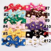 Yunfly 3pcs Fashion Baby Headbands Cotton Blend Messy Gold Dot Bow Headwrap Big Knit Turban Headband