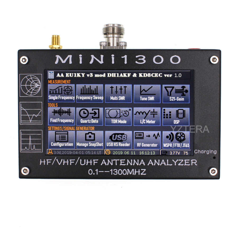 """Antenna Counter MINI1300 HF/VHF/UHF Antenna tester MINI 600 Frequency 0.1 1300MHZ with 4.3""""  LCD Touch Screen Antenna Analyzer-in Walkie Talkie from Cellphones & Telecommunications"""