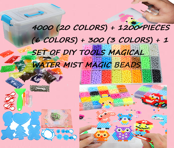 8000pcs Multicolor Magic Puzzle Toys Water Mist Bead Set DIY Craft Animal Handmade Sticky Beads Educational Toys Kids Good Gifts