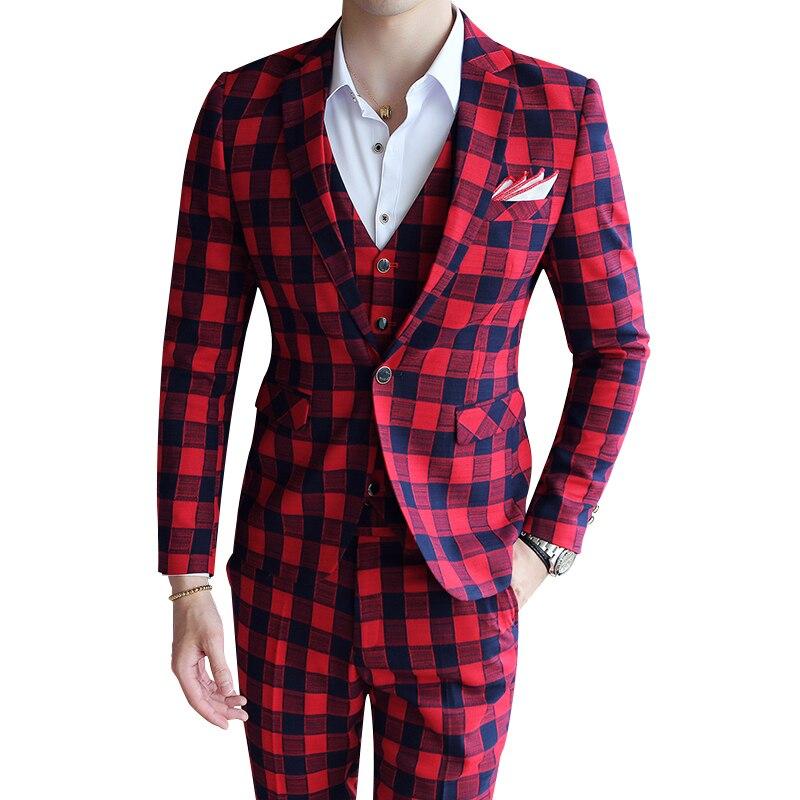 3 pieces vintage plaid suit 2017 brand luxury slim fit. Black Bedroom Furniture Sets. Home Design Ideas