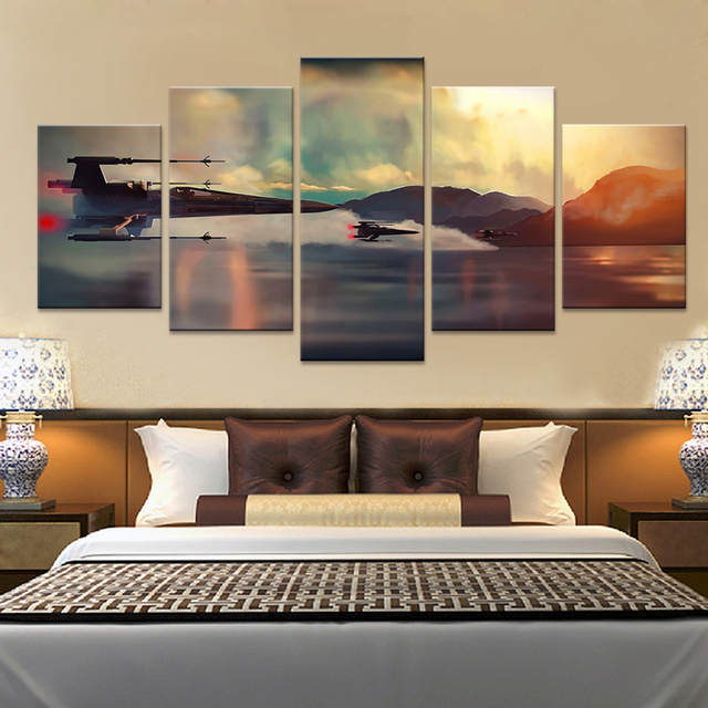 Aliexpress.com : Buy 5 Panel Canvas Prints Art Fashion Star Wars ...