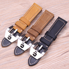 22mm 24mm Italy Genuine Leather Vintage Watch Band Strap Men Women Brown Yellow Black Bracelet Wristwatches With Skull Buckle все цены