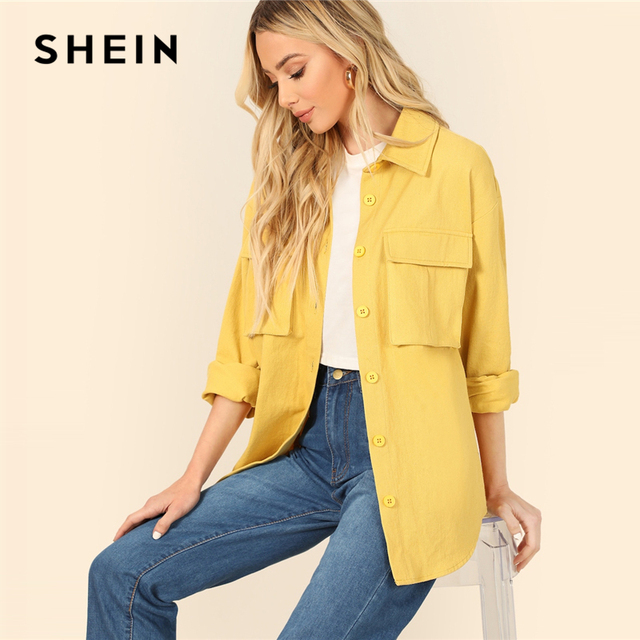 SHEIN Yellow Dual Flap Pocket Front Shirt Plain Jacket Autumn 2019 Casual Regular Single Breasted Women Coat Outerwear