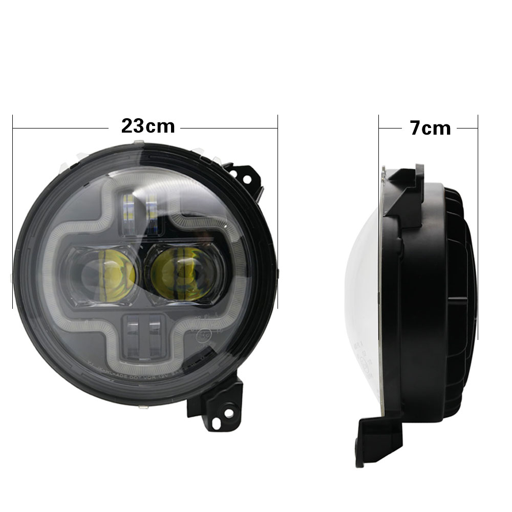 Car Lights 9inch Round LED Headlight White DRL Halo Ring Plug in Play for 2018 2019 Jeep Wrangler JL Car Headlight Assembly (19)
