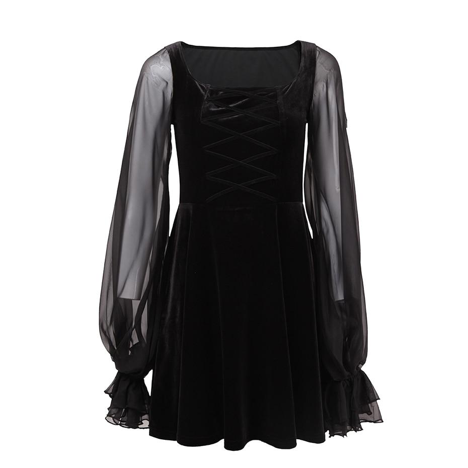 Women Lace-Up Velvet Dress Black Mesh Long Lantern Sleeve A-Line Mini Dress Bandage Sexy Cosplay Lolita Vintage Gothic Dress