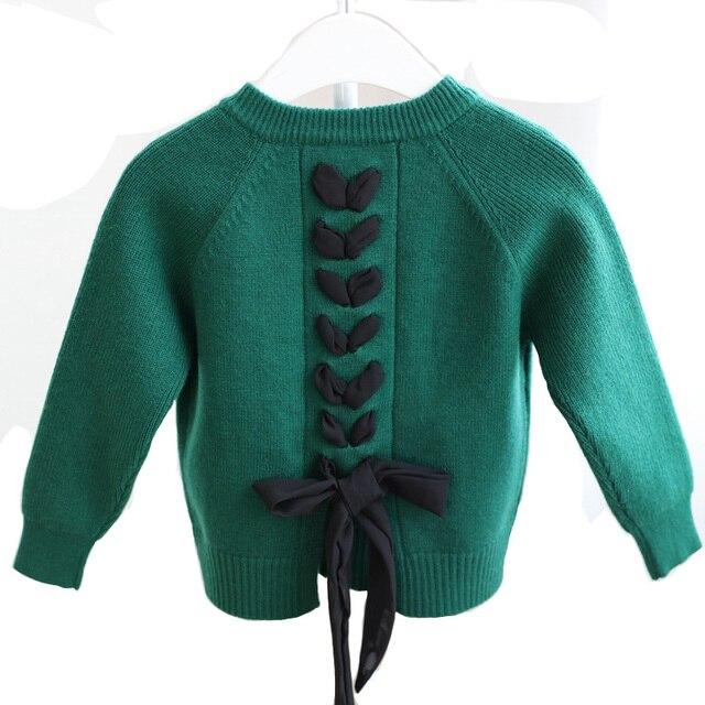 2018 Mùa Thu Mùa Đông Bé Gái Áo Len Áo Khoác Dài Tay Áo Lại Bowknot Trẻ Em Vành Đai Cô Gái Dệt Kim Cardigan Coat DQ983