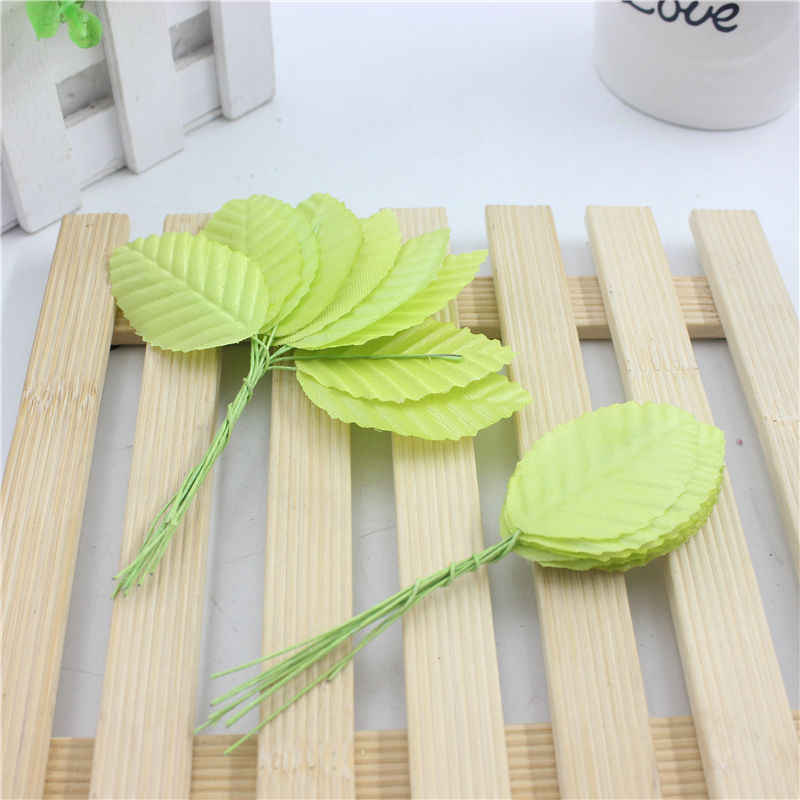 Cheap 10 pieces / lot 5 cm Silk Leaf-shaped Green Leaves Artificial Flower For Wedding Decoration DIY Scrapbooking