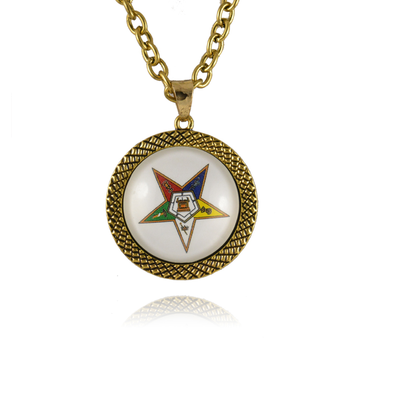 The order of the eastern star oes round shinny  Necklace Jewerly