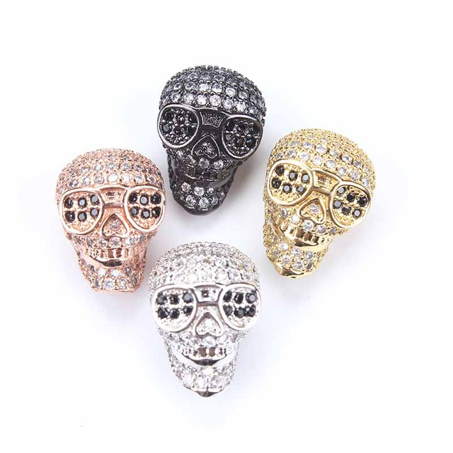 1pc 1014mm micro pave cz zircon white crystal skull charms necklace 1pc 1014mm micro pave cz zircon white crystal skull charms necklace pendant jewelry mozeypictures Images