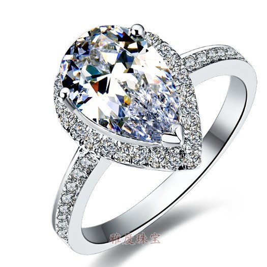 2ct Pear Shape Diamond Wedding Ring Solid Sterling Silver Best