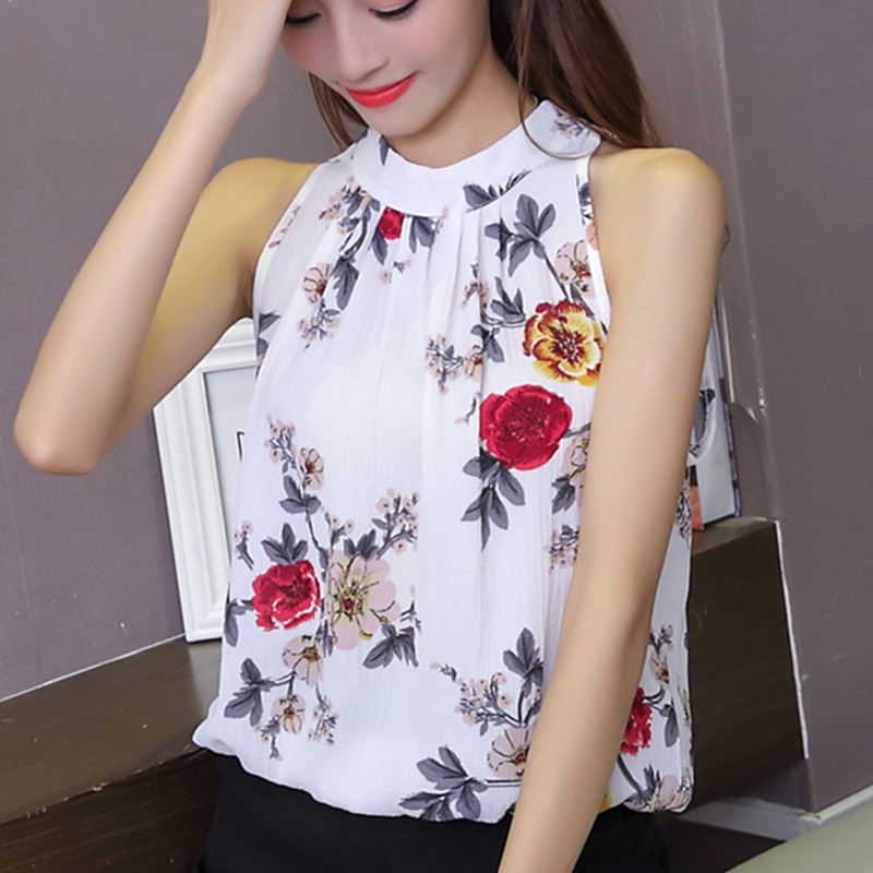 Summer Women Blouses Feminine Clothes Tank Top Flower Printing Chiffon Plus Size Female Blouses Casual Base Tops S-XXL