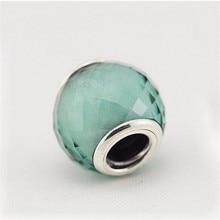 Original 925 Joyería de Plata Esterlina Verde Murano Glass Beads Fit Pandora Pulsera Del Encanto de DIY Que Hace Para Las Mujeres P5011D