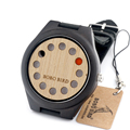 BOBO BIRD F06 12 Holes Design Wooden Watch Mens Leather Quartz Watch with Brown Leather Band in Gift Box