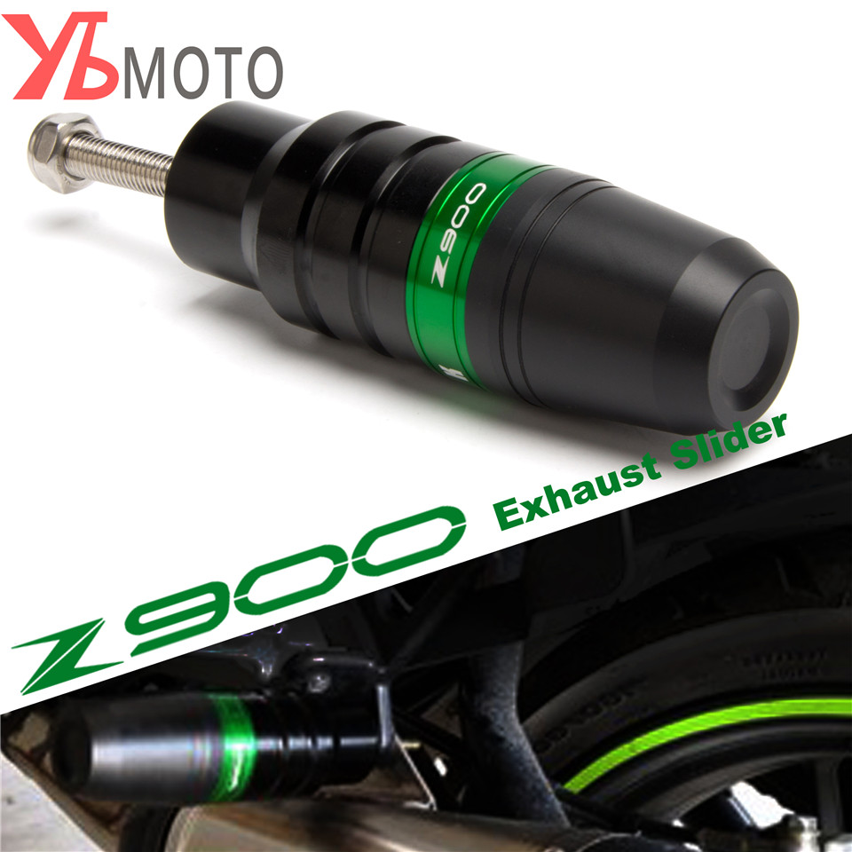Motorcycle CNC Black Aluminum Crash Pads Exhaust Sliders Crash Protector For Kawasaki Z900 Z 900 2017 2018 Green Color One Piece fit for kawasaki z900 z 900 2017 motorcycle cnc aluminum rear axle spindle chain adjuster blocks and spool sliders