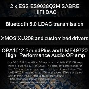 Image 3 - ציפוי D50S USB DAC הכפול ES9038Q2M Bluetooth 5.0 HiFi אודיו שולחן עבודה מפענח היי res PCM 32bit/768k DSD512 LDAC/AAC/SBC/aptX