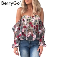 BerryGo Off Shoulder Summer Party Blouses And Shirts Embroidery Blouse Shirt Women Blusas Transparent Mesh Blouse