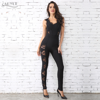 Adyce 2018 HOT SALE Women Long Rompers Black Lace O Neck Bandage Long Jumpsuit wholesale Celebrity Party Jumpsuits Clubwear