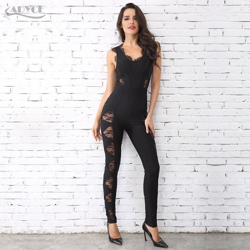 Adyce 2019 offre spéciale femmes longues barboteuses noir dentelle O cou Bandage longue combinaison en gros célébrité fête combinaisons Clubwear