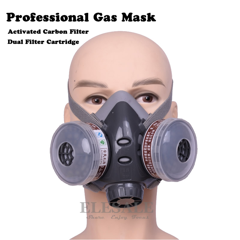 Half Face Gas Mask Dual Filter Cartridge Work Safety Gas Chemical Respirator For Spraying Painting Organic Vapor Chemical Gas skull style half face mask old silvery