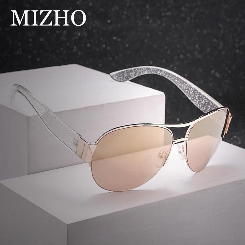 MIZHO New Arrival Tinted Sunglasses Women Brand Designer Pilot High Quality UV Protector Hip Hop 2019 Sun Glasses Pink Aviador