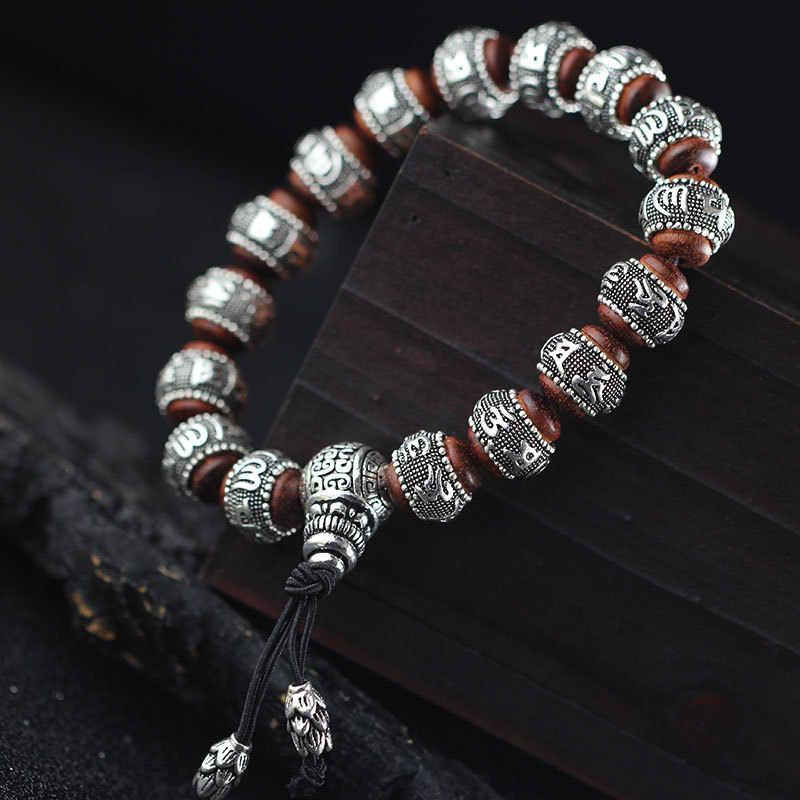 100% เงินไม้จันทน์แบบดั้งเดิมทิเบตพุทธสร้อยข้อมือหกคำ Mantras OM MANI PADME HUM Amulets โลหะโบราณลูกปัด