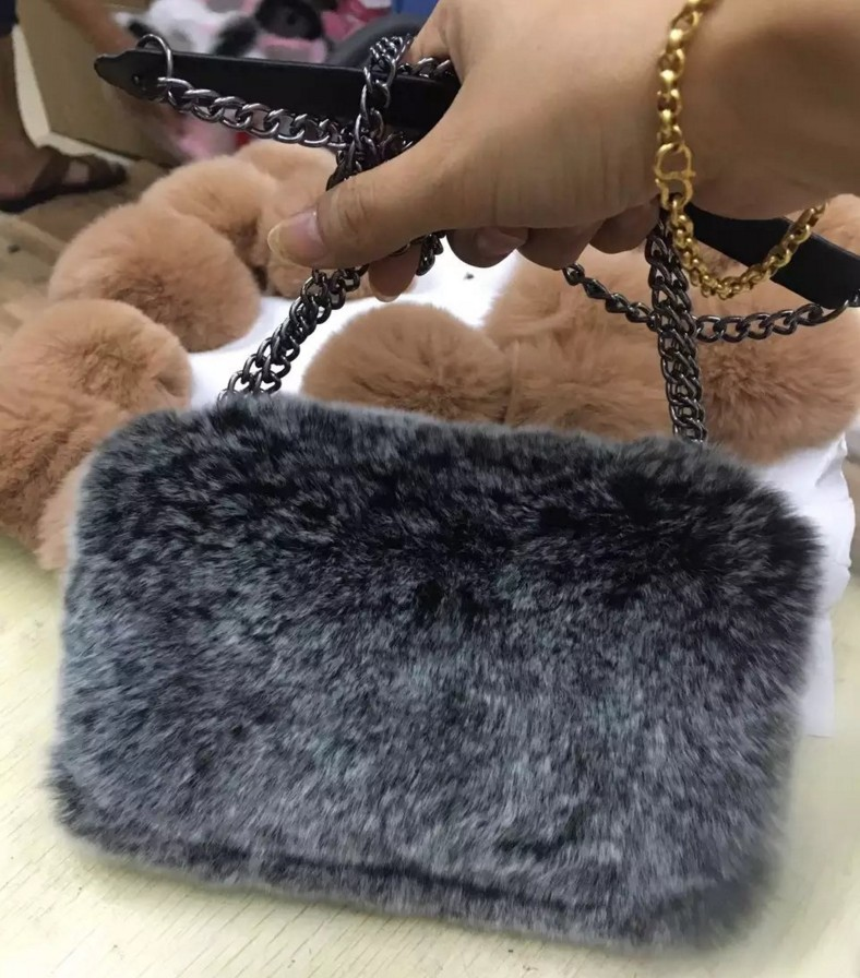 Really rabbits fluffy plush fur leather case for samsung galaxy S7 Edge s6 Edge s8 s8plus case Messenger chain cover Flip Purse