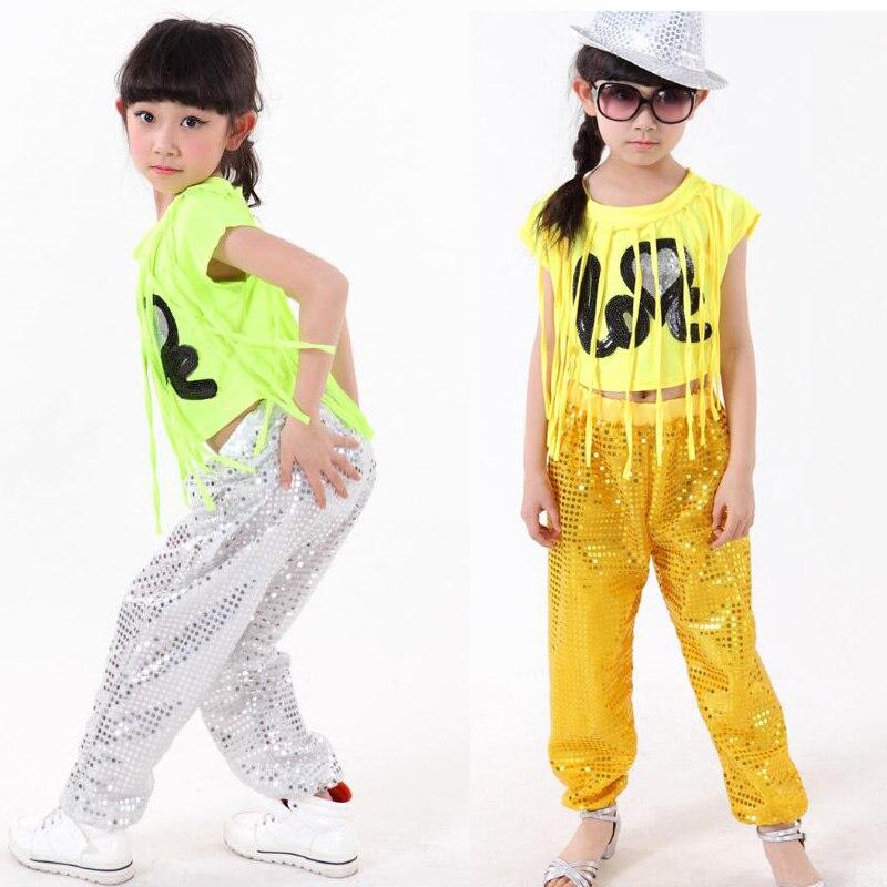 771f4de2 US $18.28 20% OFF Dzieci Ballroom dancing odzież Topy + Spodnie Studentów  wykonywania Dzieci hip hop jazz taniec cekinami Frędzle Dancewear ...