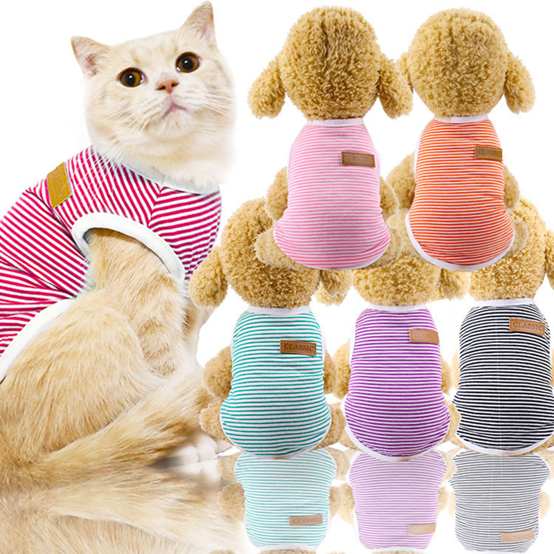 Spring/Summer Classic Pet Dog Vest T-Shirt Striped Dog Shirt XS-XXL Cotton Pet Clothes for Dogs Cats Puppy Dog Clothes Wholesale