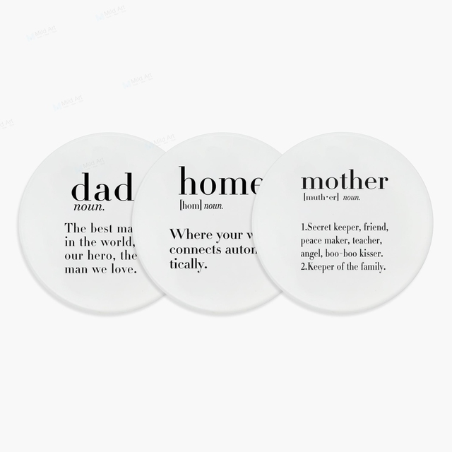 Coffee Tea Beer Ceramic Coaster Nordic Black White Humor Dad Baby