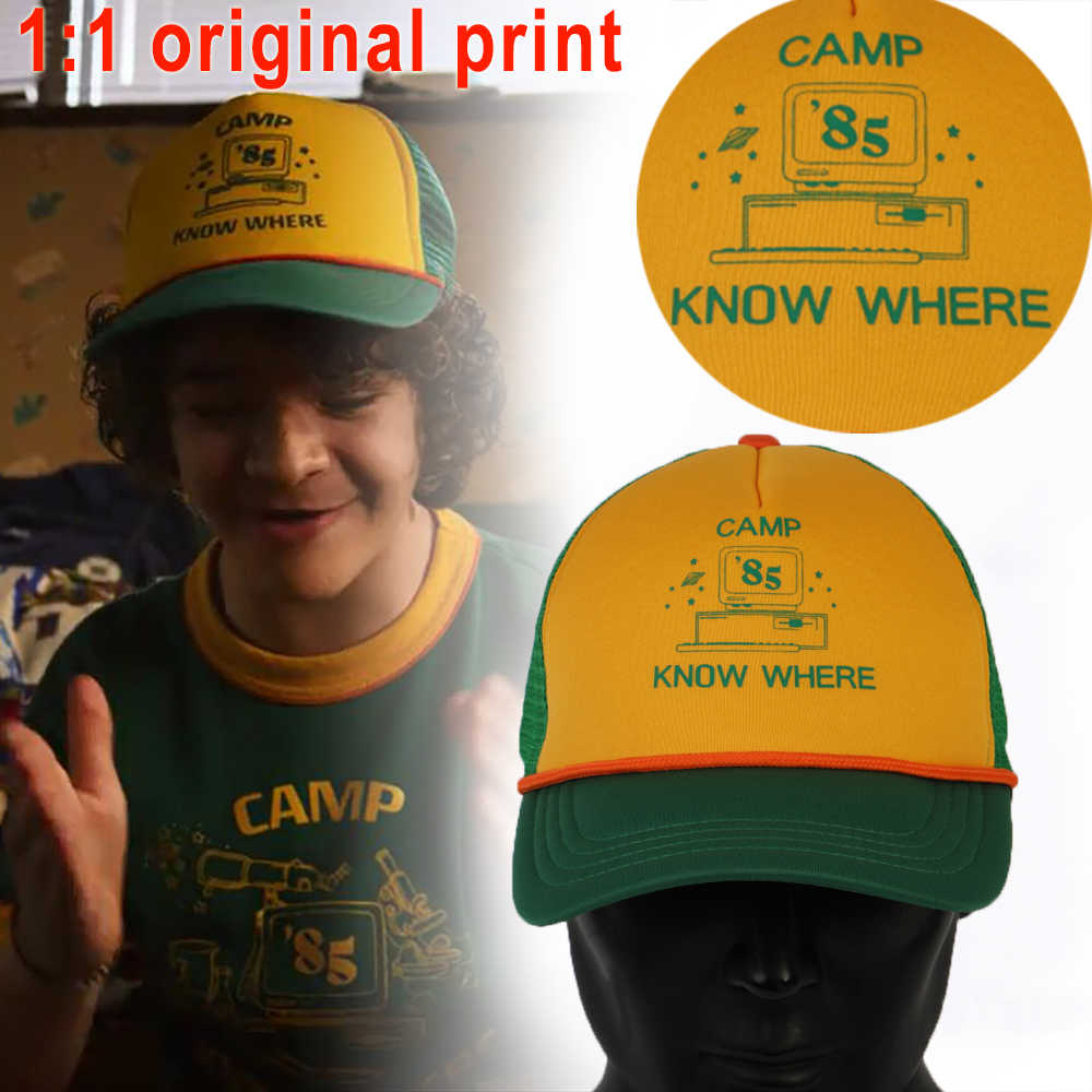2019 Stranger Things Dustin Hat Retro Mesh Trucker Cap Yellow Green 85 Know Where Adjustable Cap Gift Halloween