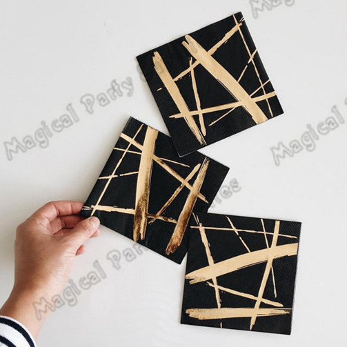 200pcs Black and Gold Party Paper Cocktail Napkin Gatsby Party Supplieslies Black and Gold Party Tableware