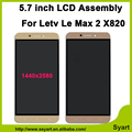 """Alta qualidade Rosa/Ouro 5.7 """"display lcd de toque digitador da tela de substituição de peças de telefone celular para letv le leeco max 2 max2 x820"""
