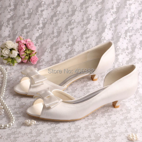 (20 Colors)Custom Handmade High Quality Ivory Wedding Shoes Low Heel Bows Large Size Dropshipping