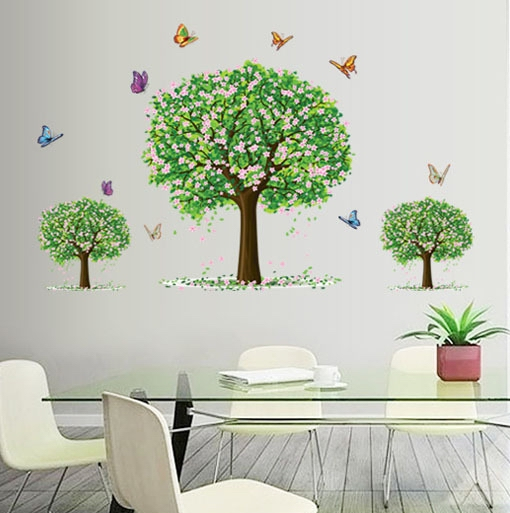 3 Small Sakura Flower Tree Wall Stickers Girls Kids Bedroom Home Decoration  Self Adhesive Decals Vinyl