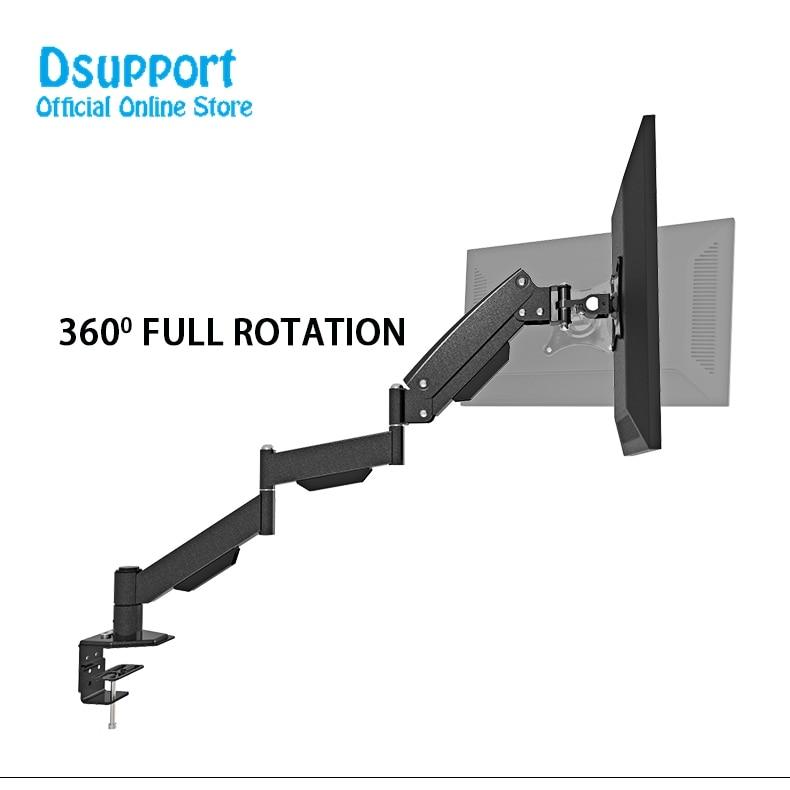 "Gas Spring extra Long Arm 17-27"" LCD Computer Monitor Holder Full Motion TV Mount Desktop Bracket"