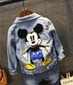 2016 primavera e no outono roupas outerwear das crianças meninos e meninas dos desenhos animados jaqueta jeans mickey
