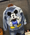 2016 spring and autumn children's clothing outerwear boys and girls cartoon denim jacket mickey