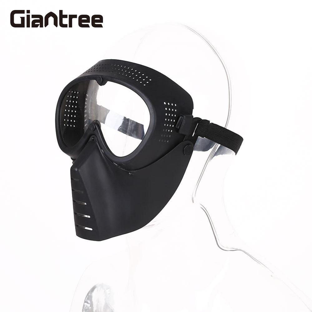 giantree Protective Airsoft Paintball Tactical Full Face Safety Guard Mask Helmet Black Head Facial Safety Protector protective outdoor war game military tactical full face shield mask black