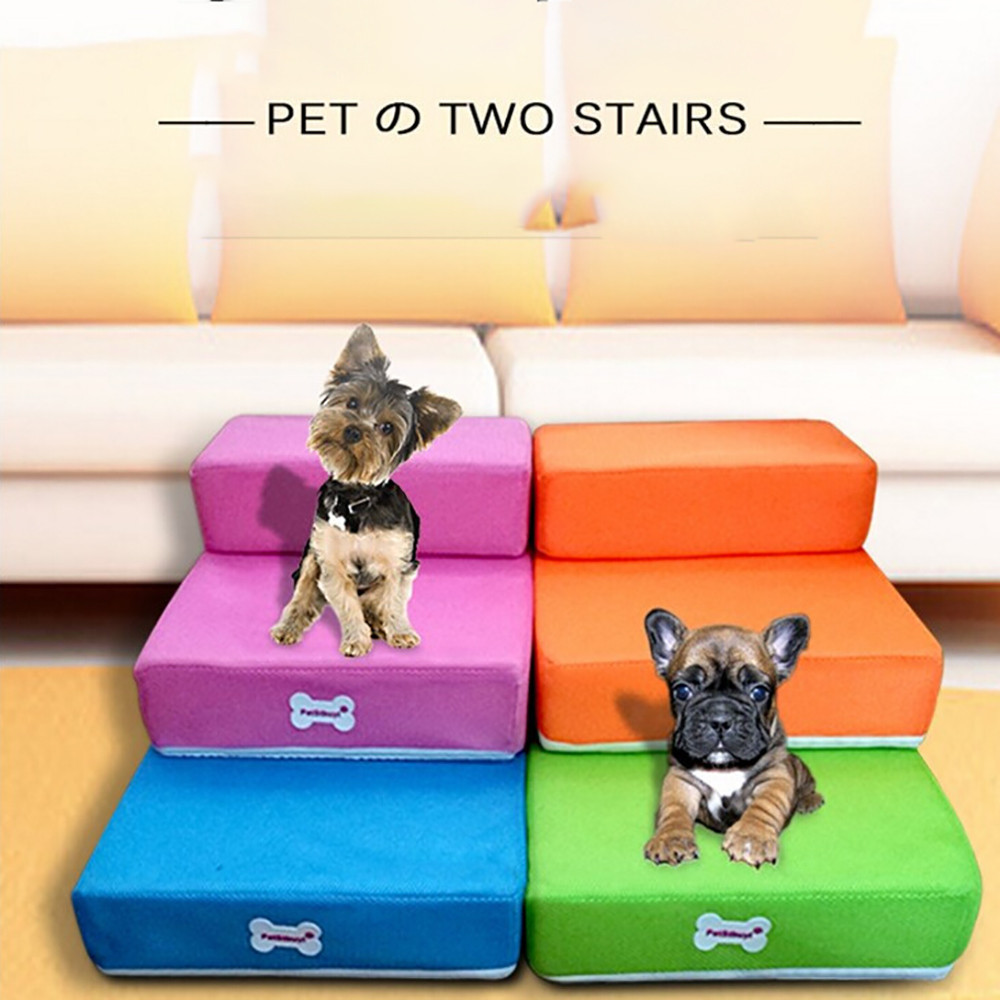 ISHOWTIENDA Breathable Mesh Foldable Pet Stairs Detachable Pet Bed Stairs Dog Ramp 2 Steps Ladder for