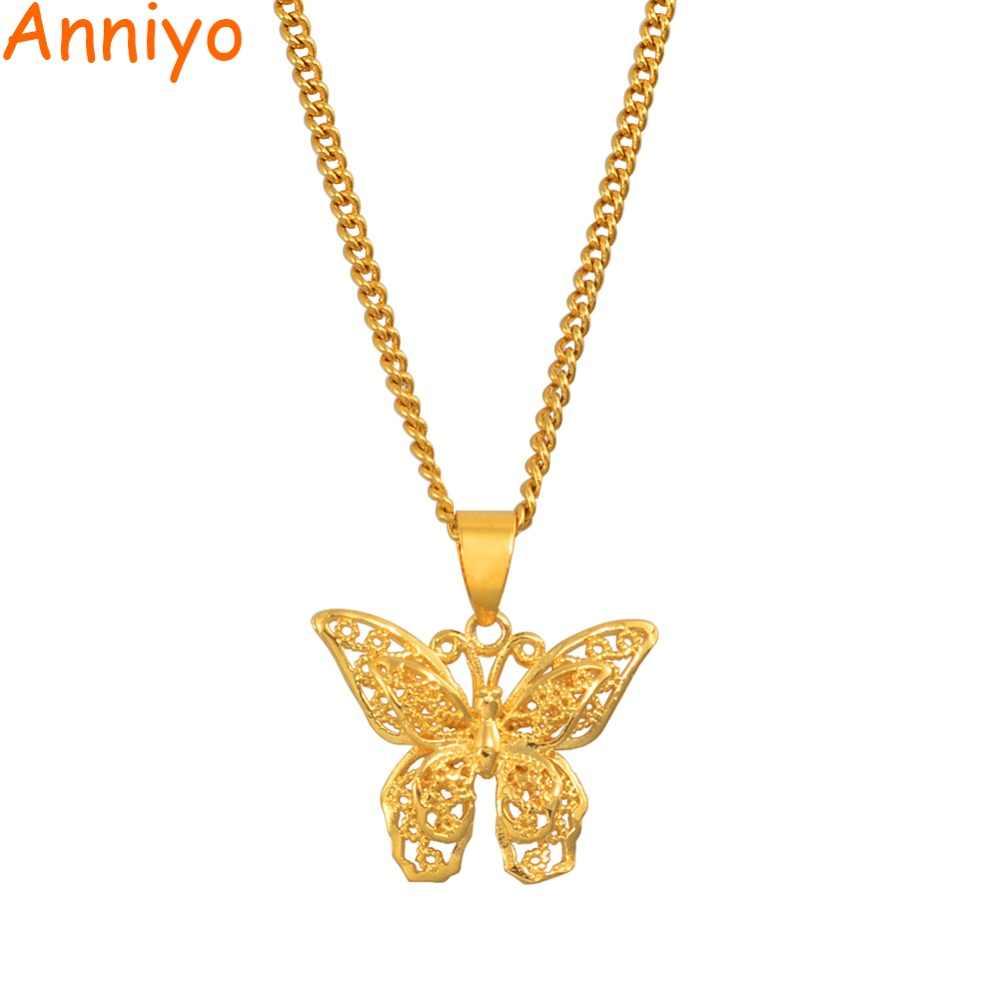 Anniyo Schmetterling Charms Anhänger Kette Halsketten für Frauen Mädchen Gold Farbe Schmuck PNG Geschenke #006209