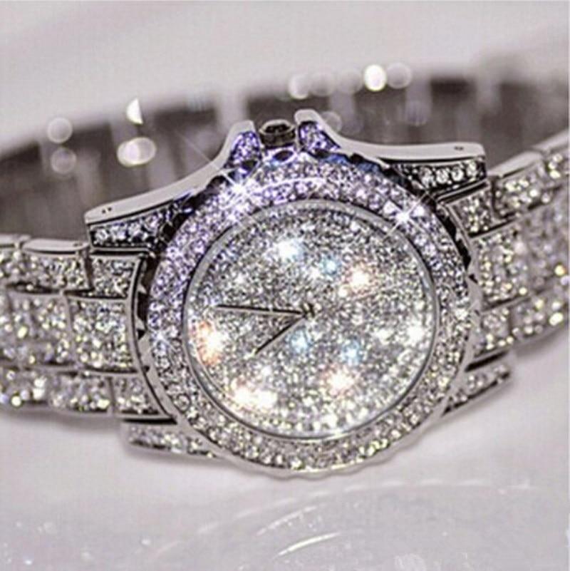 Feminino Relogio Women Watches Crystal Full Steel Ladies Wristwatch Quartz Woman Reloj Hombre Montre Femme Zegarek Damski Saati