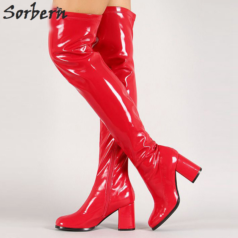 Sorbern Retro Over The Knee High Boots For Women 70'S Gogo Boots Long 7Cm Square Heels Square Toes Custom Color Ladies Shoes цена