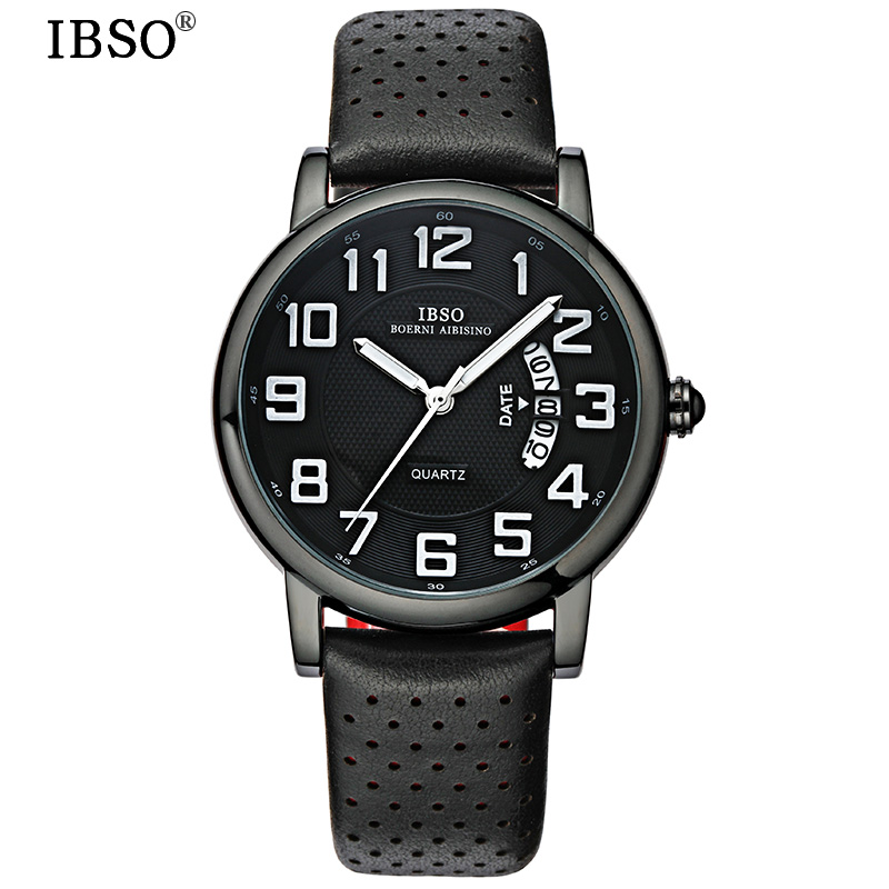 IBSO Luxury Mens Watches 2017 Top Brand Genuine Leather Strap Calendar Display Sports Watches Men Quartz Relojes Hombre #S3860 canvas shoulder waterproof camera bag triangle backpack case for canon nikon sony pentax dslr