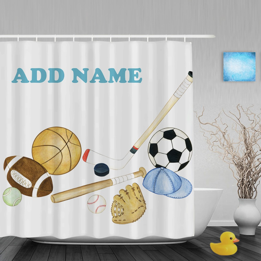 Sports shower curtain - Personalized Sports Shower Curtain Baseball Football Basketball Decor Bathroom Curtains Polyester Waterproof Fabric With Hooks