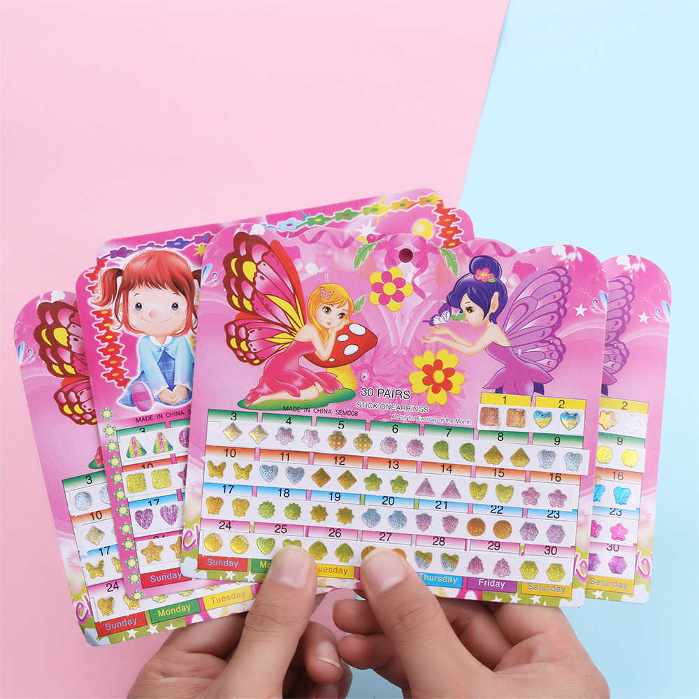 2 Sheets Diy Cartoon Sticker Toys Wonderful Children Crystal Reward Stickers Waterproof Head Earring Stickers Toy Christmas Gift
