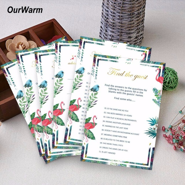 Ourwarm 3types 150pcs Wedding Invitations Cards Bridal Shower Decoration Creative Ideas For Flamingo Funny Party