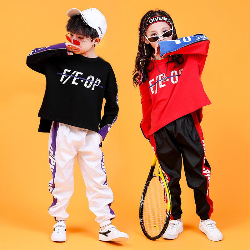 Children Hip Hop Clothing Sweatshirt Shirt Tops Casual Pants For Girl Boy Jazz Dance Costume Ballroom Dancing Clothes Loose Wear