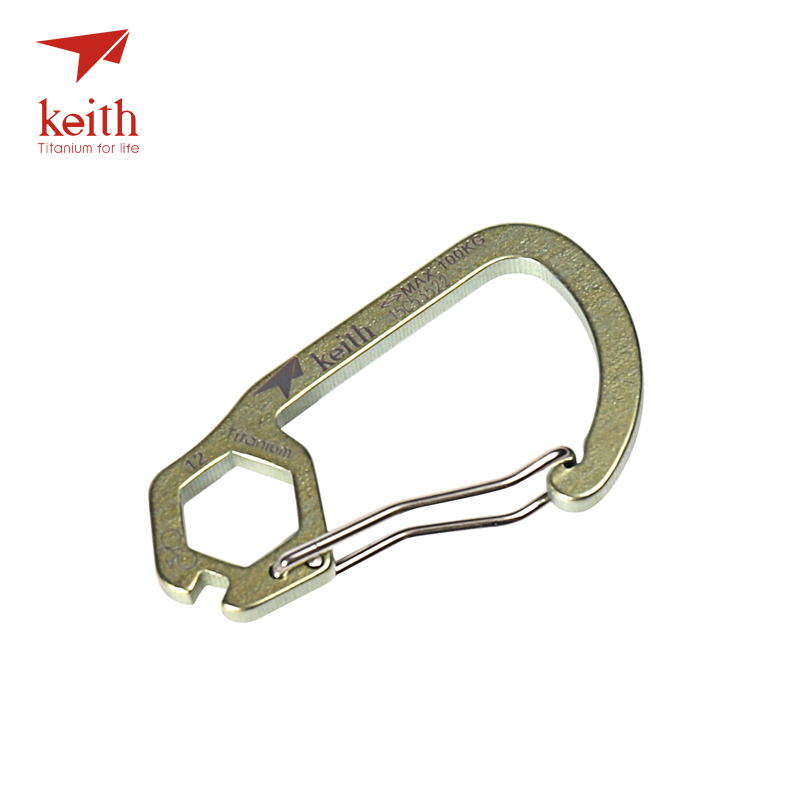 Keith 1 Pcs D Shape Camping Carabiner Titanium Survival Camping Equipment Buckles Hooks Key Chain 4 Colors